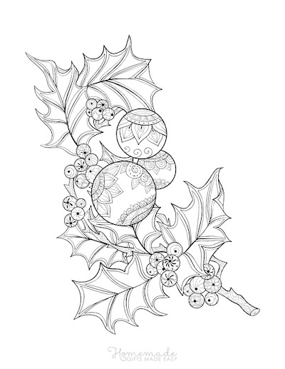 Christmas Coloring Pages for Adults - Holly Branch Baubles