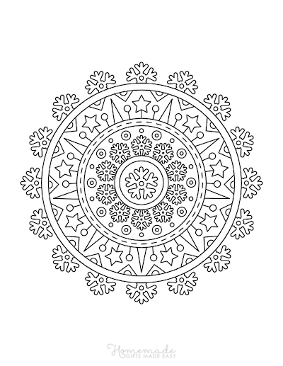 Christmas Coloring Pages for Adults - Mandala Stars Snowflakes
