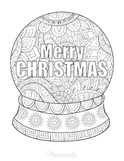 Christmas Coloring Pages for Adults - Merry Snowglobe Patterned