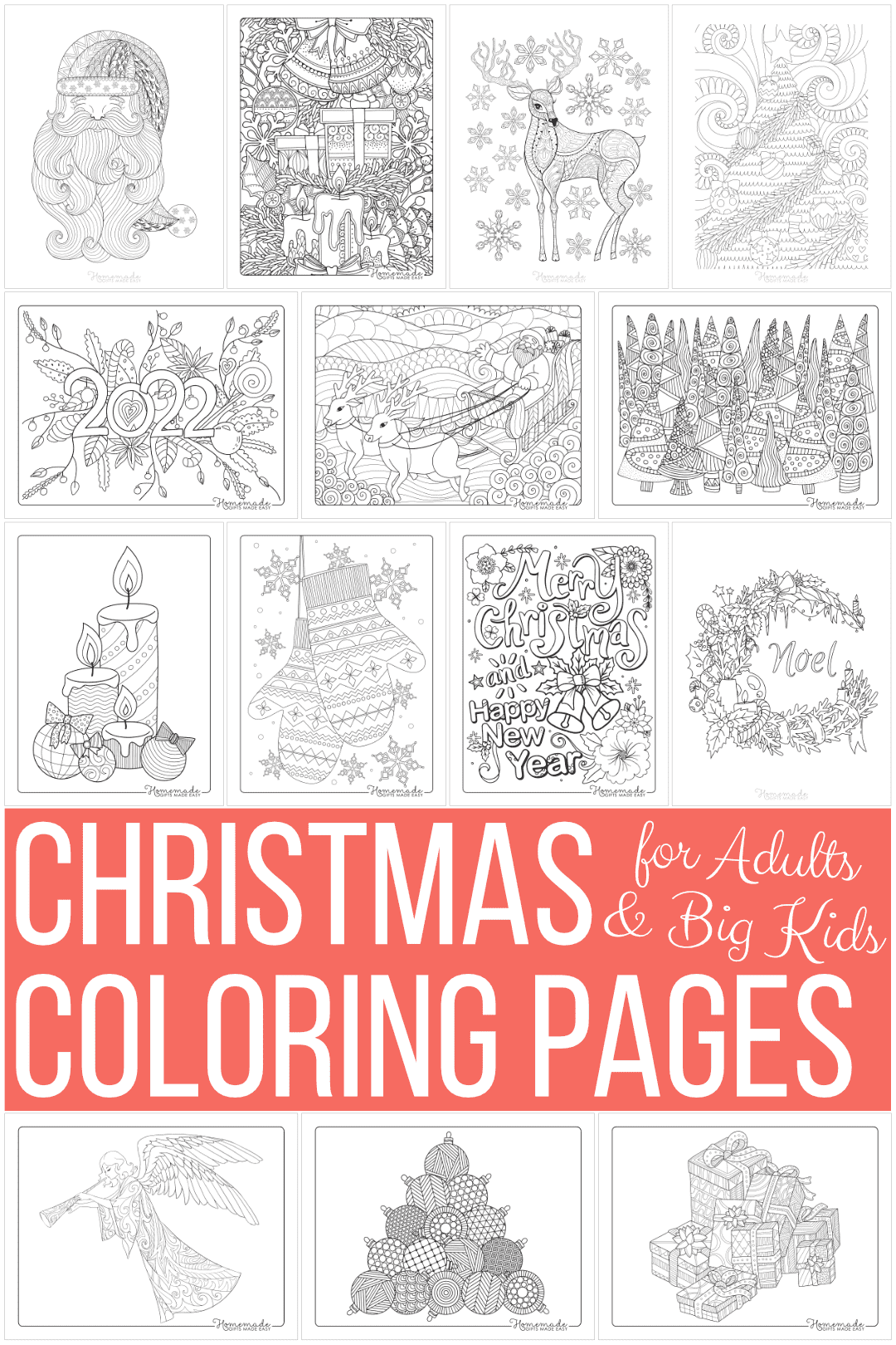 free printable christmas coloring pages for adults - 40+ designs