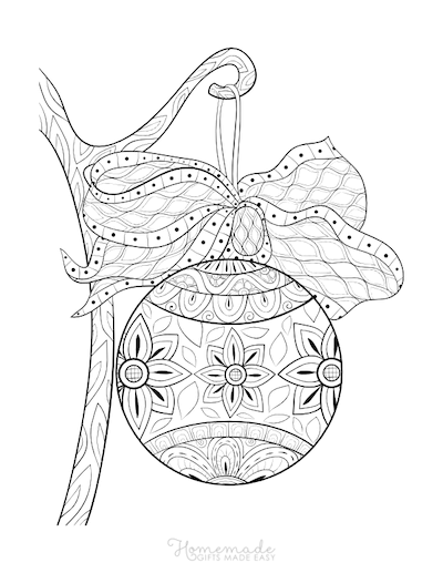 Christmas Coloring Pages for Adults - Patterned Hanging Bauble