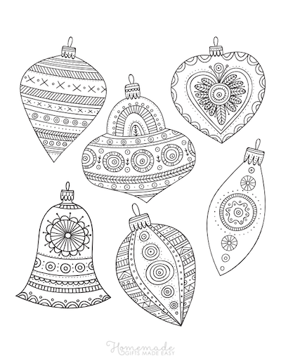 Christmas Coloring Pages for Adults - Patterned Ornaments to Color
