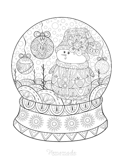 Christmas Coloring Pages for Adults Patterned Snowglobe Snowman