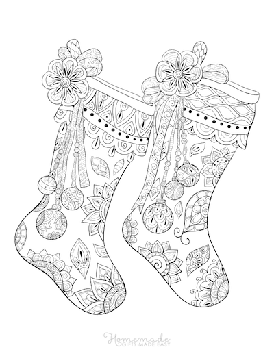 Christmas Coloring Pages for Adults - Patterned Stockings