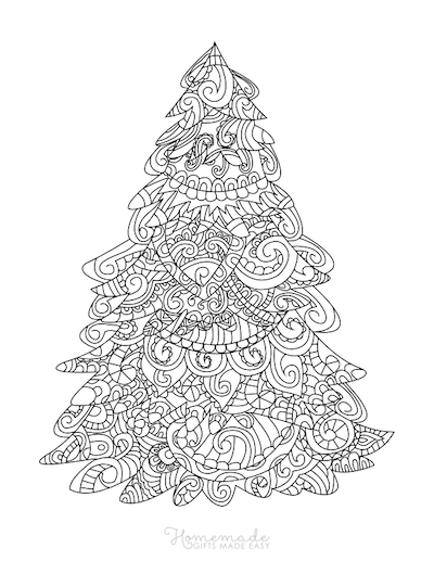 Christmas Coloring Pages for Adults Patterned Tree