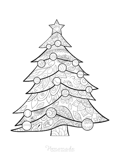 Christmas Coloring Pages for Adults Patterned Tree Baubles Star