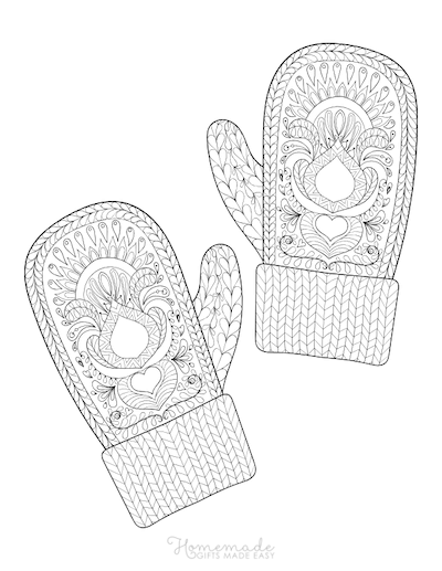 Christmas Coloring Pages for Adults - Patterned Winter Mittens