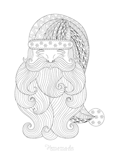 Christmas Coloring Pages for Adults - Santa Claus Face Intricate Doodle