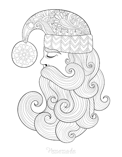 Christmas Coloring Pages for Adults Santa Claus Swirly Beard Decorative Hat