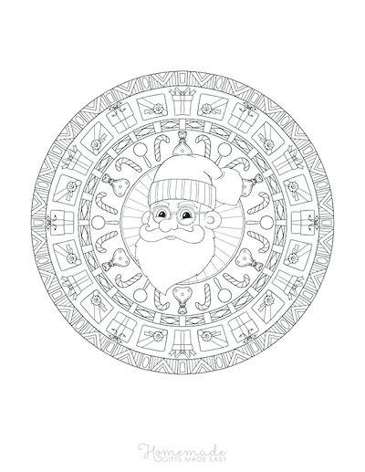 Christmas Coloring Pages for Adults Santa Mandala
