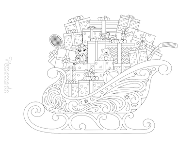 Christmas Coloring Pages for Adults - Sleigh Laden With Toys