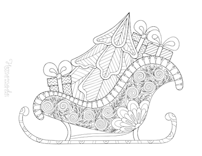 Christmas Coloring Pages for Adults - Sleigh Tree Gifts
