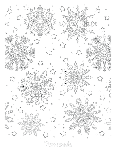 Christmas Coloring Pages for Adults - Snowflakes Background