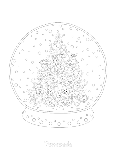 Christmas Coloring Pages for Adults Snowglobe Decorated Tree