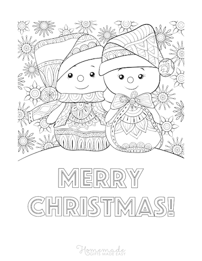Christmas Coloring Pages for Adults - Snowmen Patterned Merry