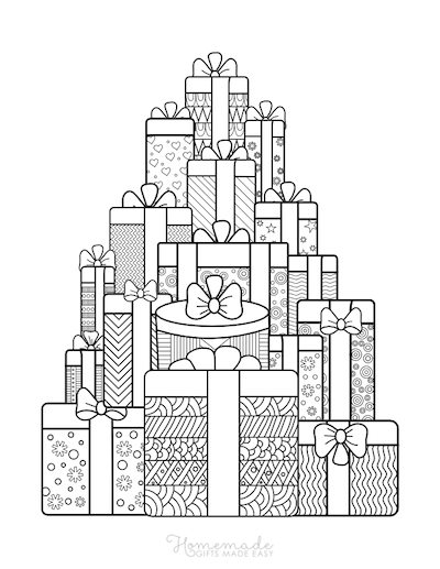 Christmas Coloring Pages for Adults - Stack of Gifts Intricate Patterns