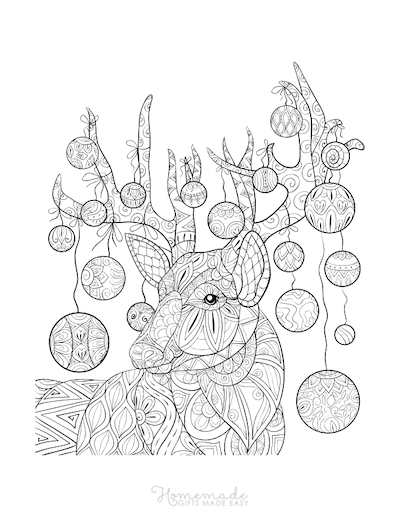 Christmas Coloring Pages for Adults - Stag Baubles Antlers