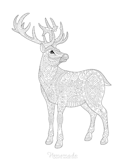 Christmas Coloring Pages for Adults - Stag Deer Reindeer Doodle