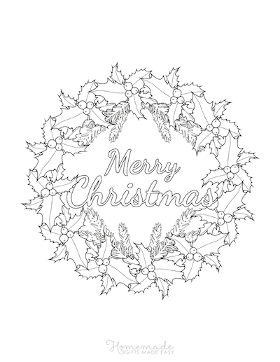 Christmas Coloring Pages Holly Wreath Merry