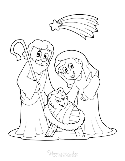 Christmas Coloring Pages Mary Joseph Baby Jesus Star