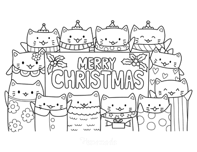 Christmas Coloring Pages Merry Christmas Cute Cats Border