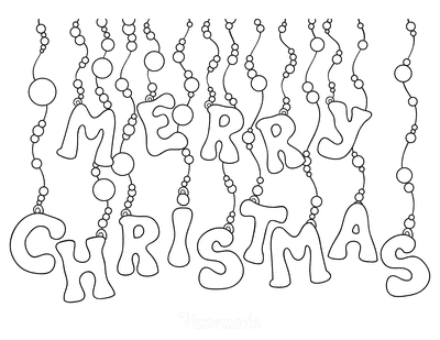 Christmas Coloring Pages Merry Christmas Hanging Baubles