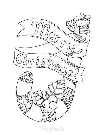 Christmas Coloring Pages Merry Decorated Candy Cane