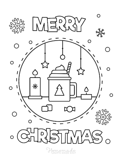 Christmas Coloring Pages Merry Hot Cocoa Snowflakes