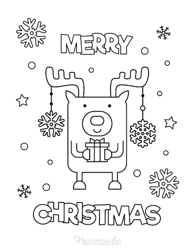 Christmas Coloring Pages Merry Rudolph Holding Gift Snowflakes