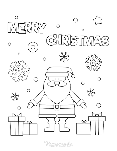 Christmas Coloring Pages Merry Santa Snowflakes Gifts Star