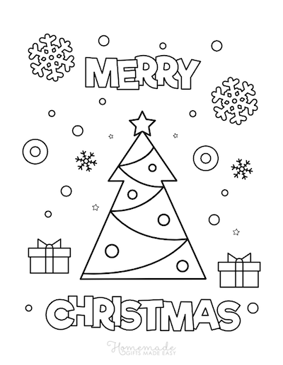 Christmas Coloring Pages Merry Tree Star Snowflakes