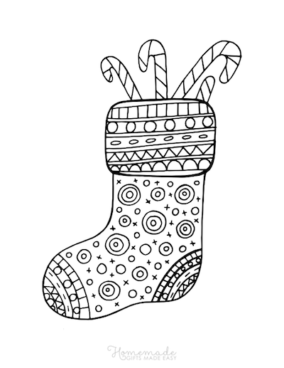 Christmas Coloring Pages Patterned Stocking Candy Canes