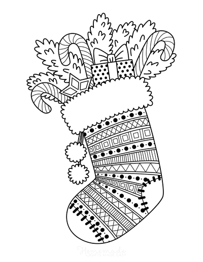 Christmas Coloring Pages Patterned Stocking With Gifts