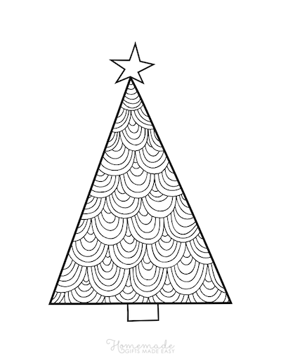 Christmas Coloring Pages Patterned Tree