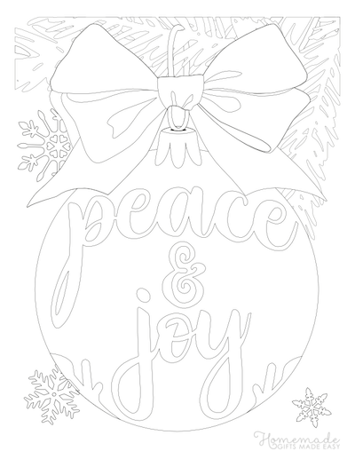 Christmas Coloring Pages Peace Joy Bauble Bow