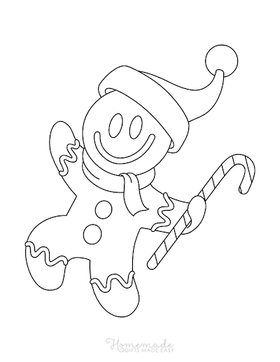 Christmas Coloring Pages Preschool Gingerbread Man Santa Hat
