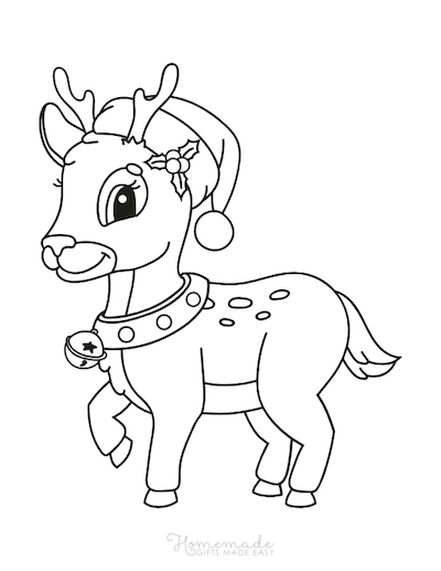 Christmas Coloring Pages Preschool Rudolph Hat Bells