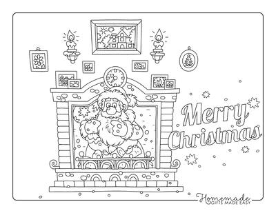 Christmas Coloring Pages Santa Chimney Hearth Sack