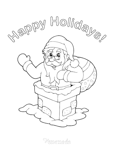 Christmas Coloring Pages Santa Claus Chimney Sack Gifts Happy Holidays