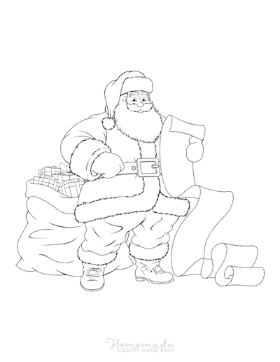 Christmas Coloring Pages Santa Claus List Sack Presents
