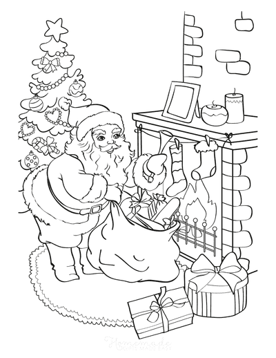 Christmas Coloring Pages Santa Delivering Gifts Into Stockings