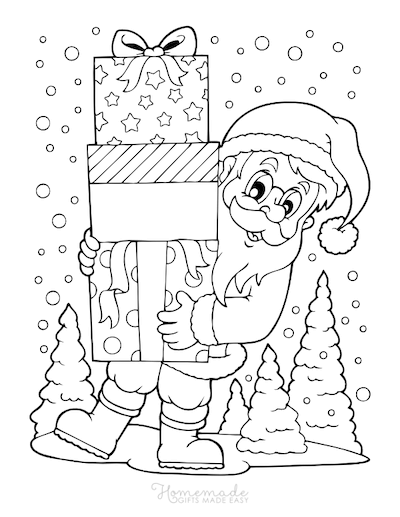 Christmas Coloring Pages Santa Holding Presents Snowing