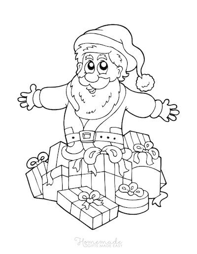 Christmas Coloring Pages Santa Pile of Gifts