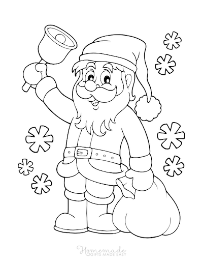 Christmas Coloring Pages Santa Sack Snowflakes Bell