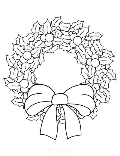 Christmas Coloring Pages Simple Holly Wreath With Bow