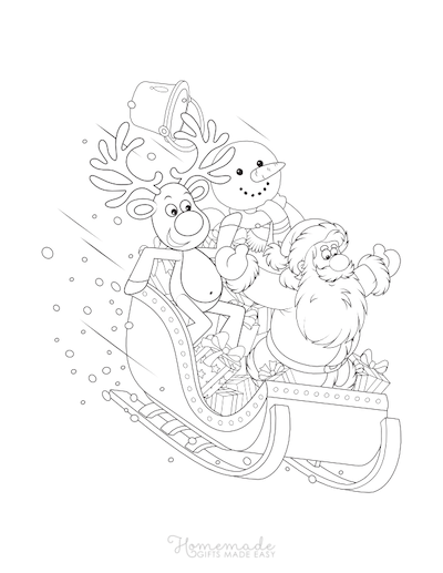 Christmas Coloring Pages Sleigh Ride Santa Rudolph Snowman