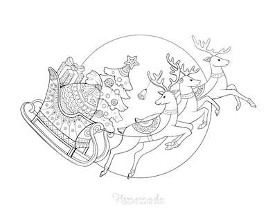 Christmas Coloring Pages Sleigh Tree Reindeers Patterned