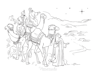 Christmas Coloring Pages Three Kings Camels Following Yonder Star