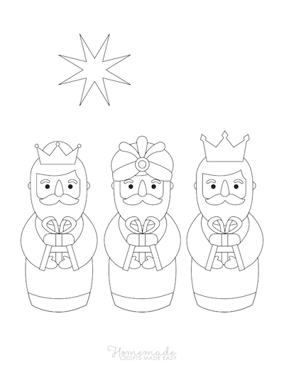Christmas Coloring Pages Three Kings Gifts Star