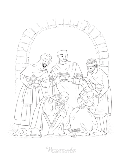 Christmas Coloring Pages Three Kings Gifts to Baby Jesus Mary Joseph